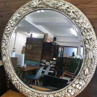 イタリア製 大型 丸型 ミラー 壁掛け 鏡 アンティーク調