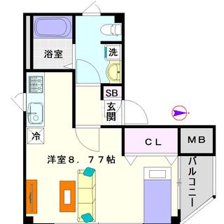 【シャトレー立葉】1号タイプ!1Rタイプ!ワンフロア1室の完全独...