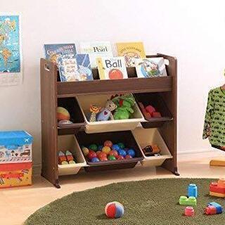 絵本棚付きおもちゃ箱/アイリスオーヤマ/ブラウン/ETHR-26 - 家具