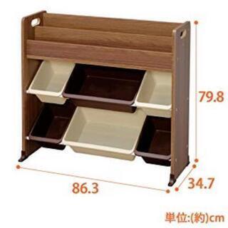 絵本棚付きおもちゃ箱/アイリスオーヤマ/ブラウン/ETHR-26の画像