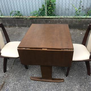 伸縮性 テーブル 回転椅子 二脚 ダイニングテーブル