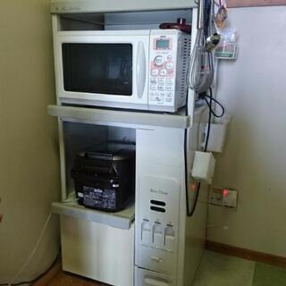 米びつ付電子レンジ&炊飯器収納