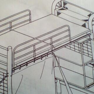 収納つり棚付きロフトベッド頑丈極太足パイプ