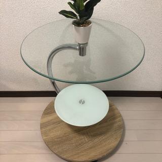 ガラスラウンドテーブル白 マーブル ナチュラル ウォルナット