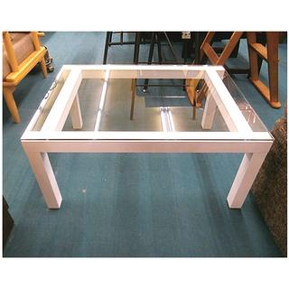 札幌【真っ白いフレームとガラス天板のセンターテーブル】幅80cm...