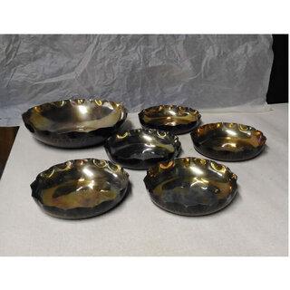 c126 銅製 打ち出し 菓子器 1枚 銘々皿 5枚