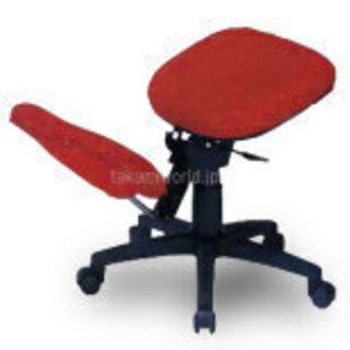 2WAY バランスチェア-赤(普通の椅子にも)高さ調節機能・キャ...