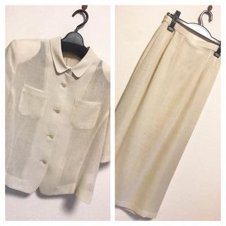 ホワイト ベージュ 春夏 ロングスカート スーツ セットアップ ...