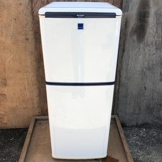 〔配送無料〕SHARP 140L 2ドア冷蔵庫 ブルー系