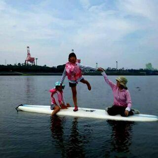 千葉ポートタワー前の海で!「キッズ&親子でsup 水遊びyoga」