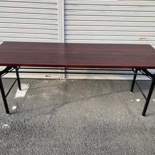★折りたたみ式★ 会議用テーブル 棚付き ミーティングテーブル ...