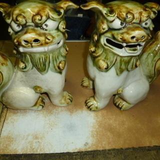 中古品 陶器 狛犬の置物 2個