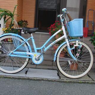 中古自転車 22インチ 女の子用 馬蹄カギ付★組立整備が整備★B...