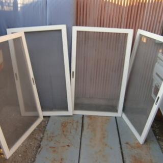 ステンレス網の中窓 木枠網戸 4枚
