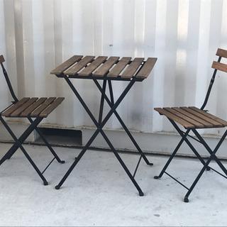 格安で!IKEA ガーデニングセット◇テーブル&チェア◇折り畳み...