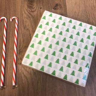 クリスマス柄ペーパーナプキン スティックキャンディ
