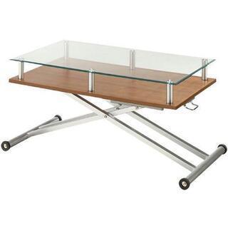 ディノス 昇降式ガラステーブル
