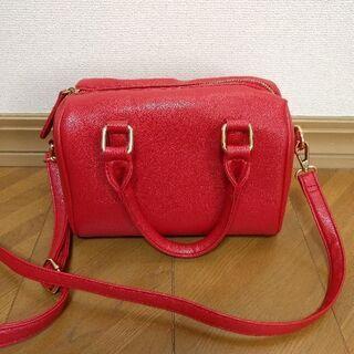 ●赤ショルダーバック ハンドバッグ 2way●
