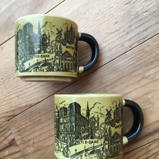 コーヒーカップ フランス柄 2つで