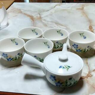 急須 ゆのみ茶碗 焼物グラス トレイセットの画像