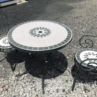 ガーデンテーブルセット アイアンモザイク調 パラソル立て対応