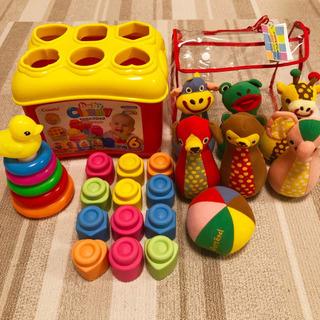 中古おもちゃ ブロック、ボーリング、輪投げ