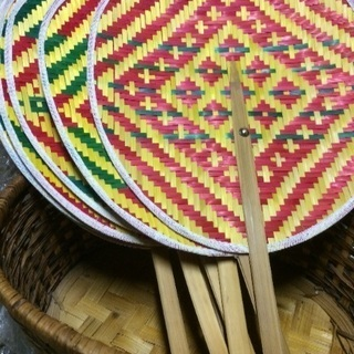◎竹で編んだうちわ◎Lサイズ 浴衣にも合います 新品未使用