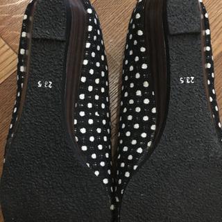 ローヒール ツイード ドット柄 ぺたんこ靴 23.5 - 大分市
