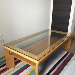 【東京駅近く引取限定】高級ガラス木目ローテーブル