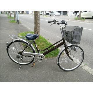 札幌 美品【24インチ自転車 ママチャリ】6段変速 ブラウン/茶...