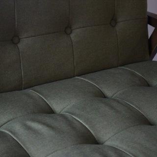 自社配送あり!! スイートデコレーション 2人掛けソファ ウッドフレーム 布製クッション グリーン - 家具