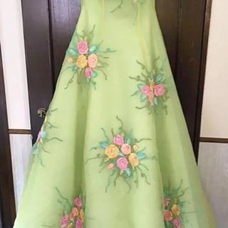 ♡  桂由美 ウェディング カラードレス 緑 花柄  ♡