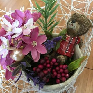 ハンドメイドフラワーくまと花