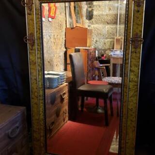 大型 ミラー 鏡 ディスプレイ 姿見 店舗 アンティーク風 お盆休み対応可の画像