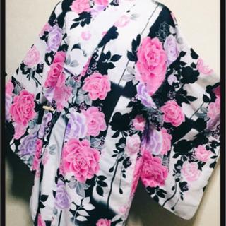 [しまむら✦訳あり美品]姫系薔薇柄浴衣  派手柄ピンクローズ ギ...