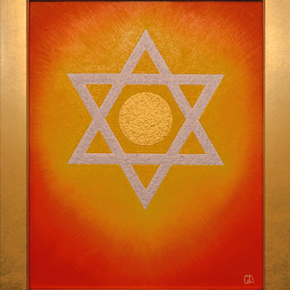 開運奇跡『ダビデの星』★がんどうあつし絵画油絵F3アクリル油彩額付縦32.3cm - 富士吉田市