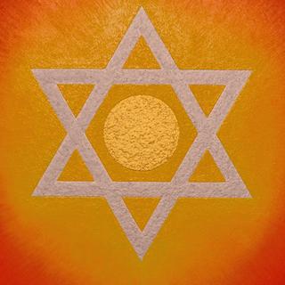 開運奇跡『ダビデの星』★がんどうあつし絵画油絵F3アクリル油彩額付縦32.3cm - 家具