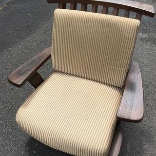 頑固おやじ 木製椅子 回転 ローチェアー イス