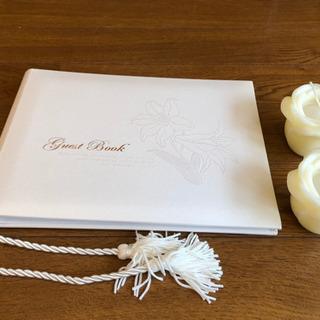 ゲストブックとホワイトローズのキャンドルセット