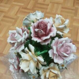 イタリア製インテリア 陶器 薔薇 オブジェ お花 フラワーアレン...