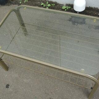 【先着順】ガラステーブル 幅73㎝ 奥行43㎝ 高さ38㎝【引取限定】