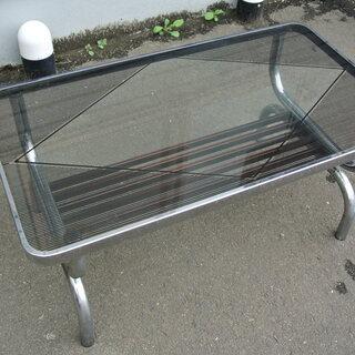 【先着順】ガラステーブル 幅90㎝ 奥行50㎝ 高さ41㎝【引取限定】