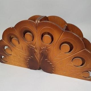 ★木製 孔雀彫刻 折り畳み スリッパラック シューズラック★