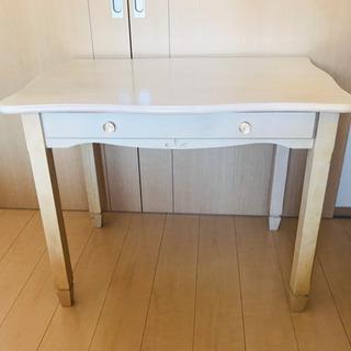 無料譲ります 木製テーブル【白】引き出し付き