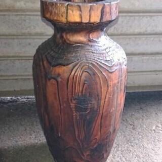 【中古】 壺 花瓶 木製 お部屋のインテリアに