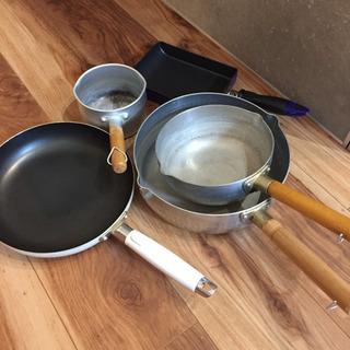 ガス火専用 雪平なべ、フライパン、玉子焼フライパン、ミルクパン