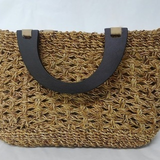 かごバッグ レディースバッグ ハンドバッグ 持ち手木製 中古現状