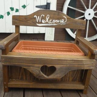 手作り木製ベンチ型プランターカバー