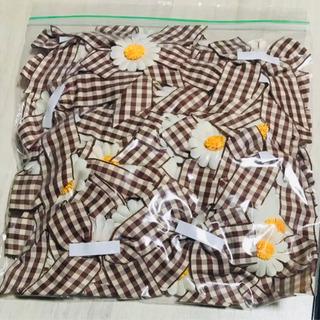 リボン 70個まとめ売り 茶色 アイボリー チェック お花 白 黄色