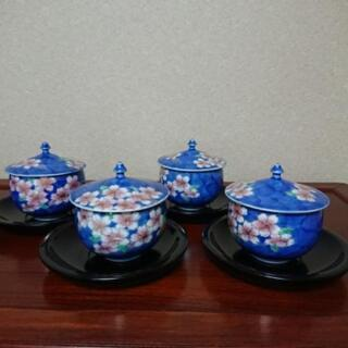 深川製磁 桜の湯飲み 湯呑み 4個セット 漆茶托